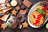 Waffles, candies and sweets
