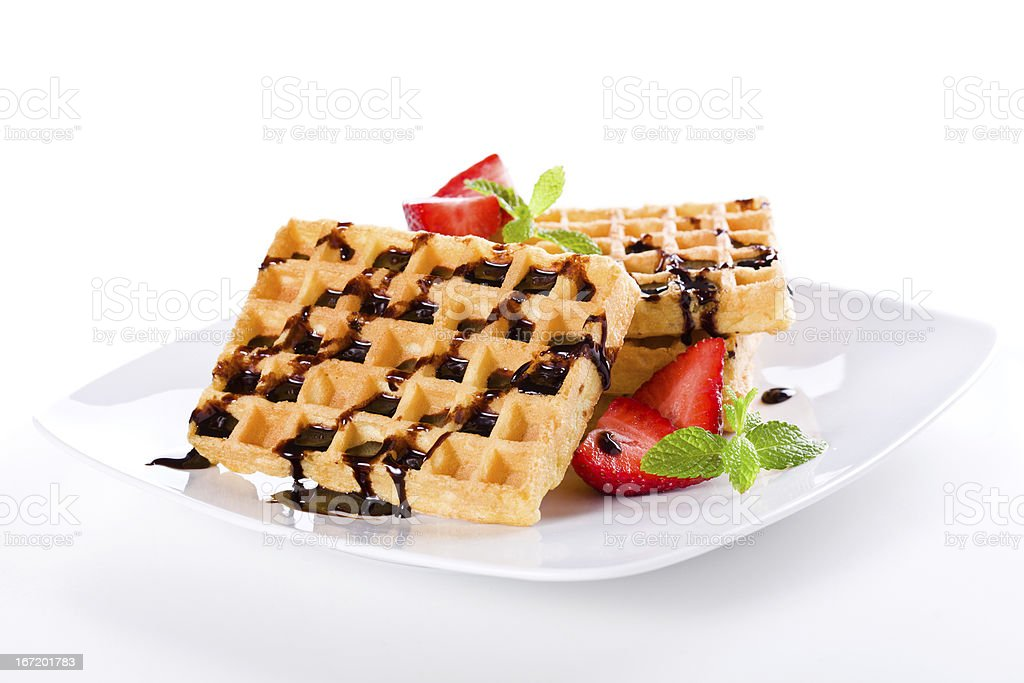 Waffles Chocolate And Strawberries royalty-free stock photo