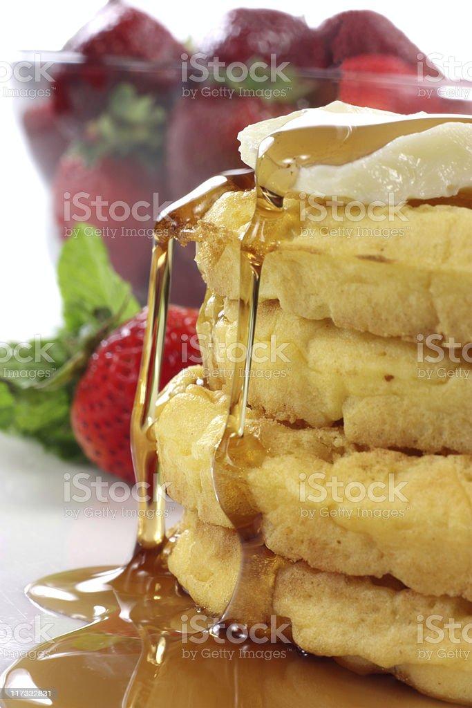 Waffles close-up stock photo