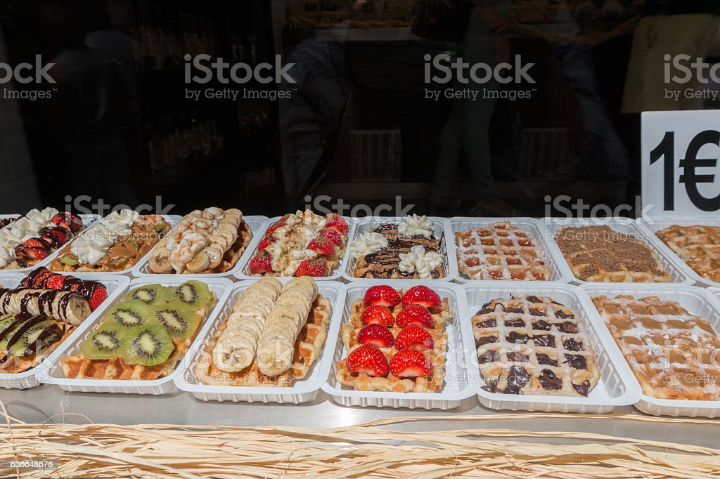 Waffles in Brussels stock photo