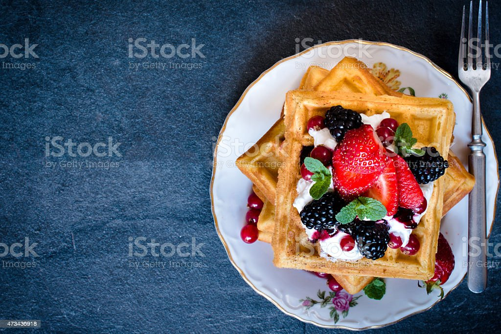 Waffles time stock photo