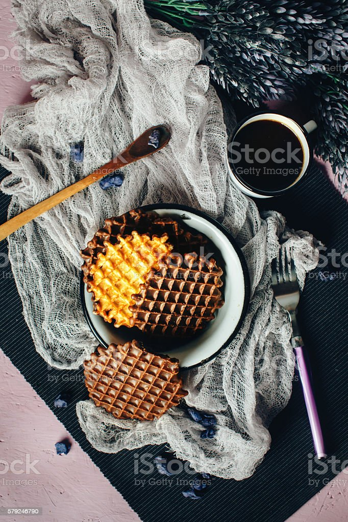 Waffles with Chocolate Icing with Coffee stock photo