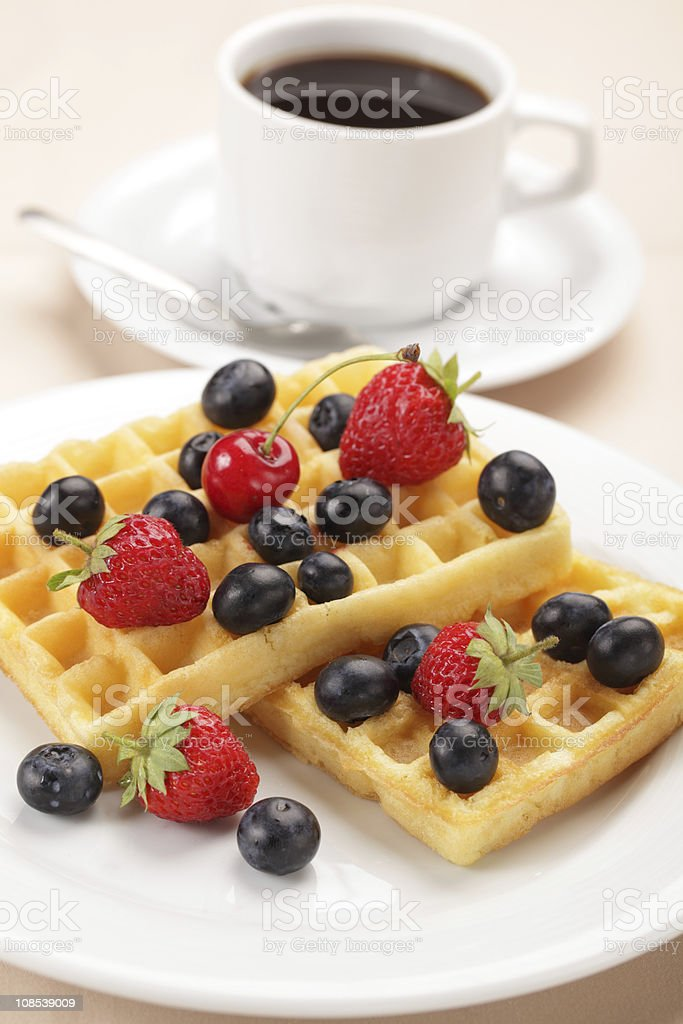 Waffles with fruits royalty-free stock photo