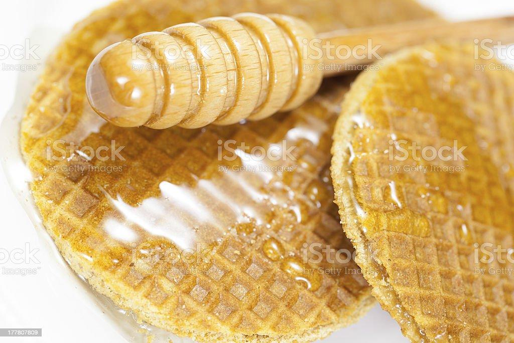 Waffles with honey royalty-free stock photo