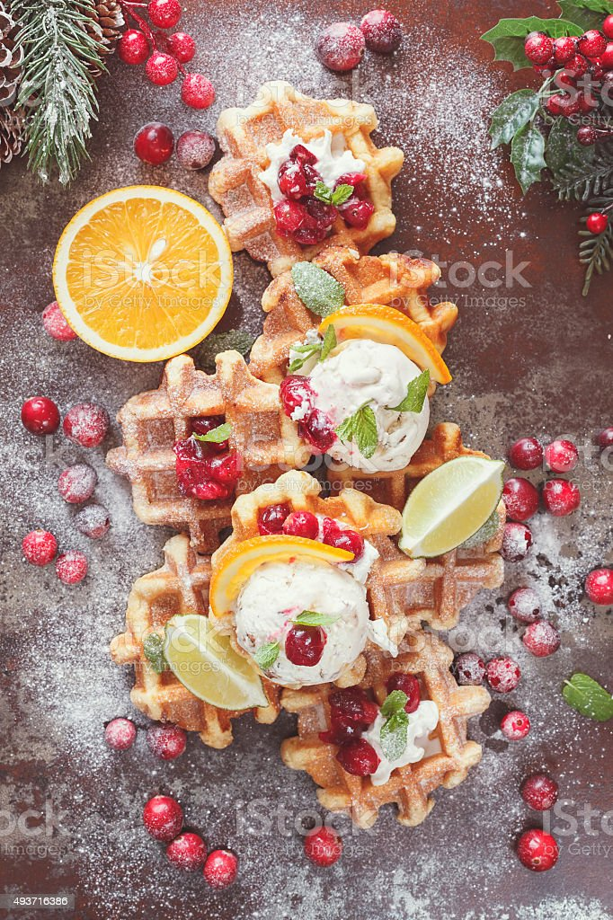Waffles with ice cream and oranges stock photo