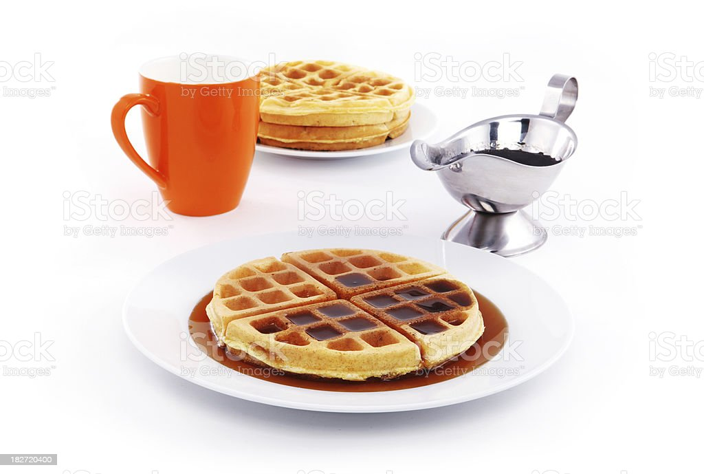 Waffles with maple syrup stock photo