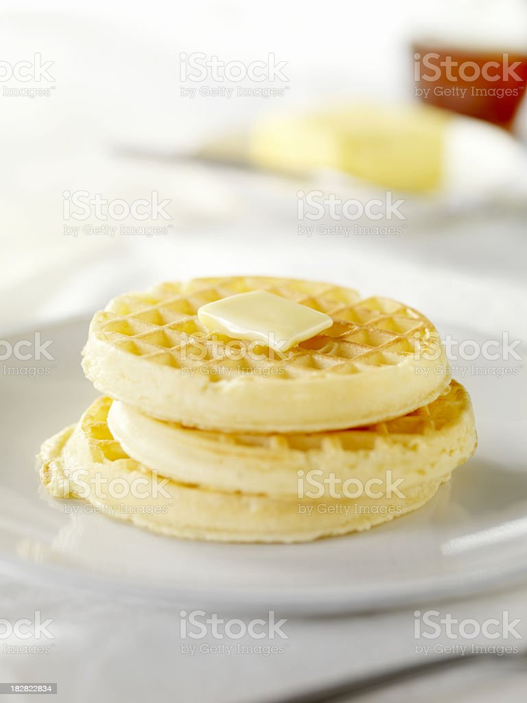 Waffles with Melting Butter stock photo
