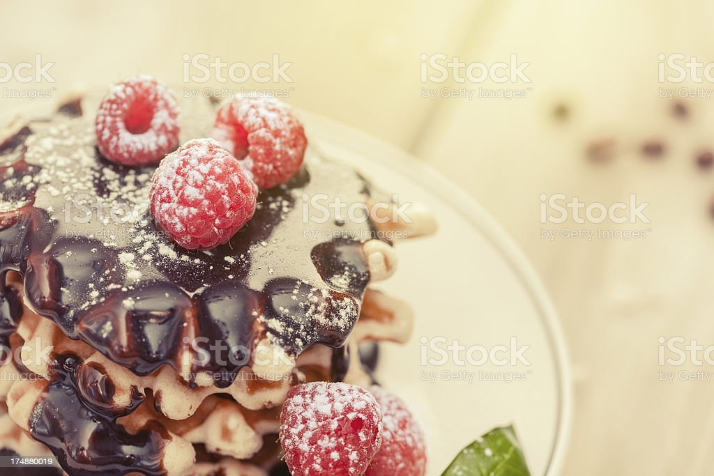 Waffles with raspberry and chocolate sauce royalty-free stock photo