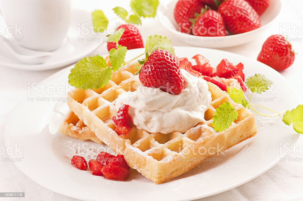 Waffles with Strawberry royalty-free stock photo