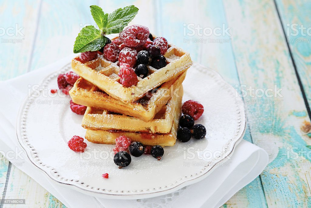 waffles with summer berries stock photo