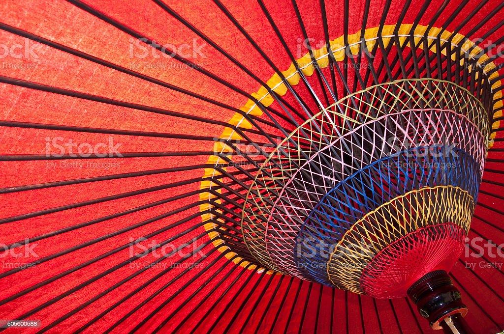 Wagasa, red traditional chinese umbrella stock photo