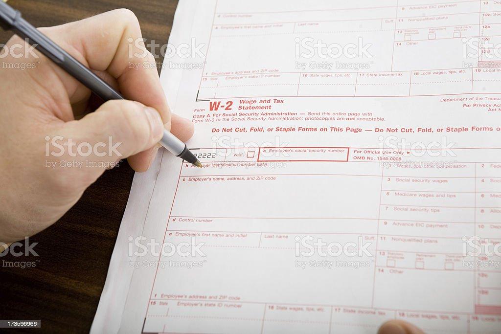 W-2 Wage and Tax Statement stock photo