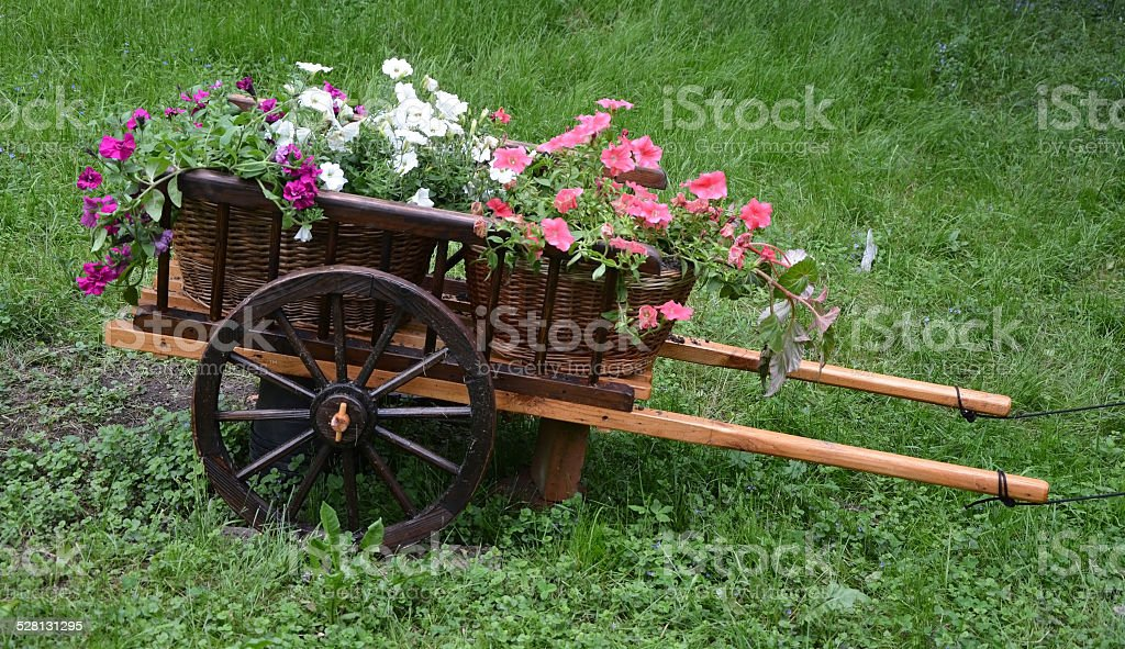Waggon with flowers stock photo