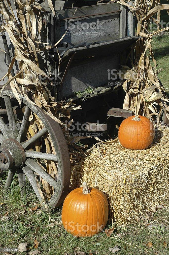 Wagon и Pumpkins Стоковые фото Стоковая фотография