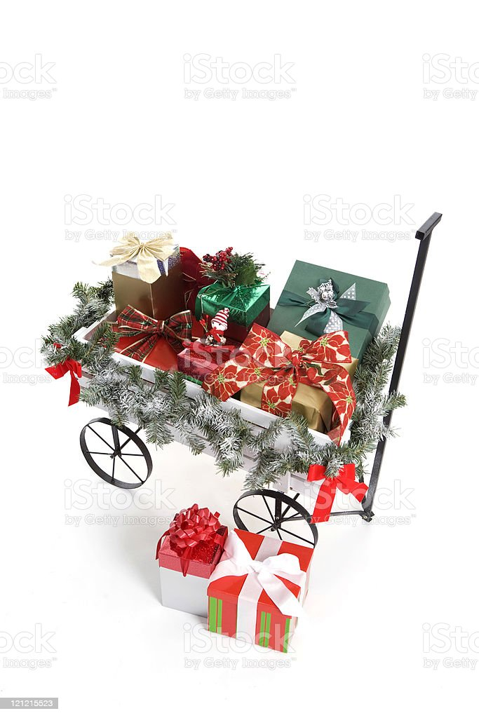 Wagon Full of Gifts stock photo