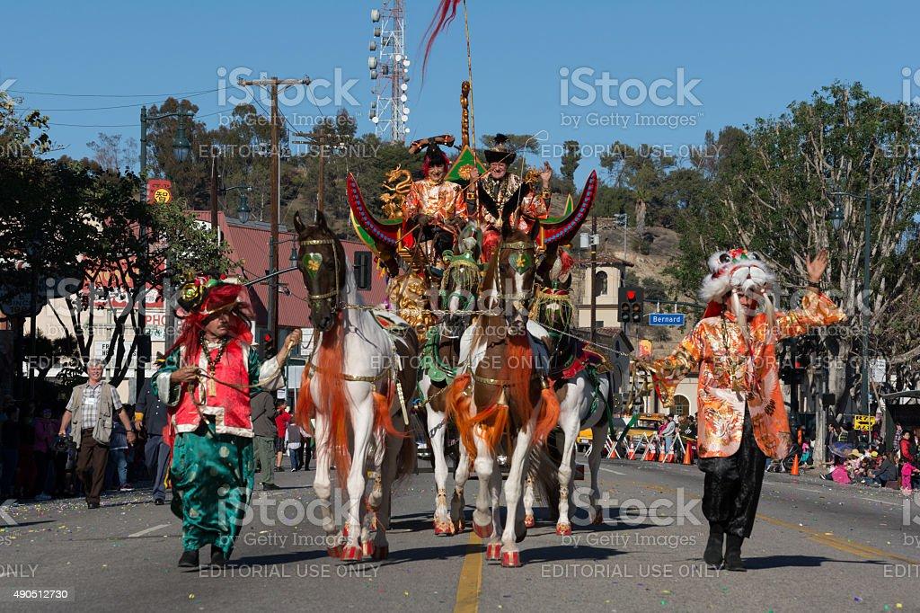 Wagon horses during the Golden Dragon Parade stock photo