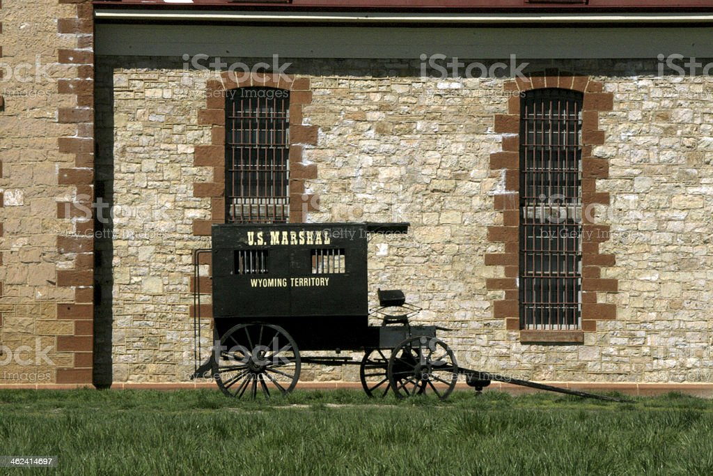 Wagon in Front of Prison stock photo