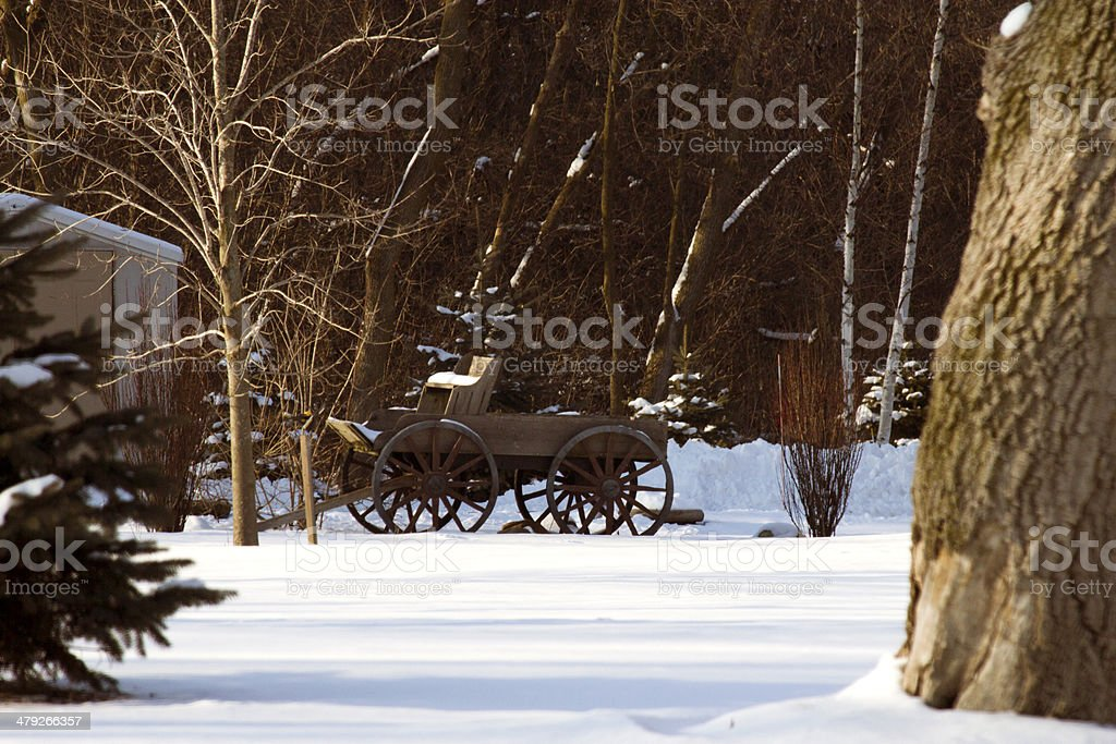 Wagon In The Snow stock photo