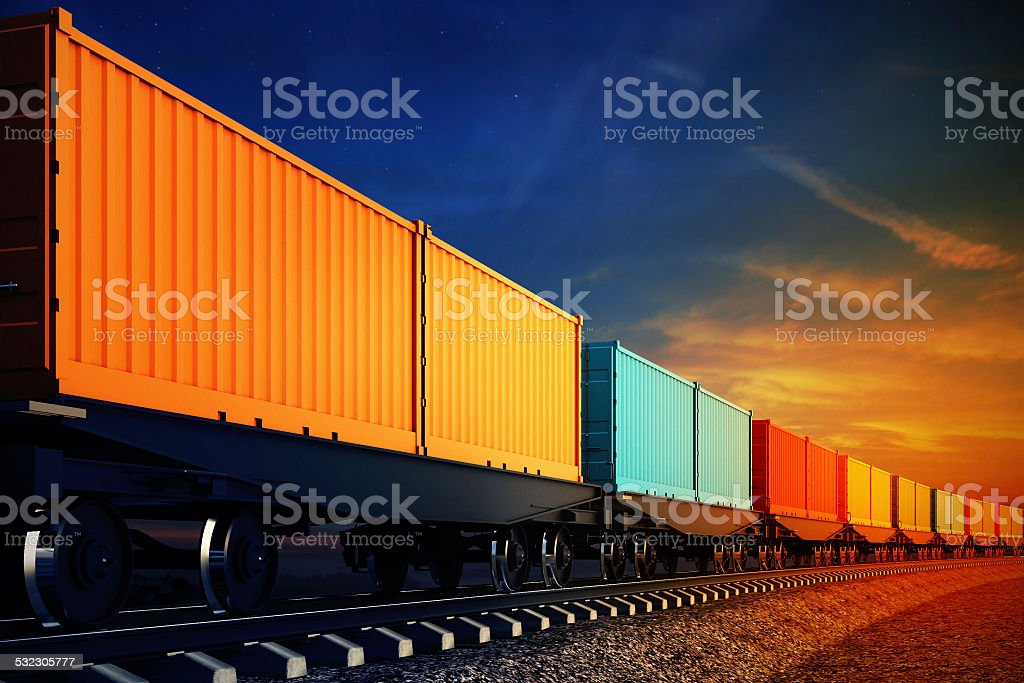 wagon of freight train with containers on the sky background stock photo