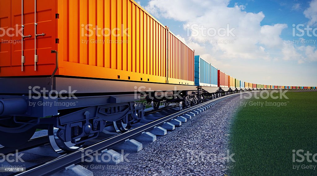 wagon of freight train with containers stock photo