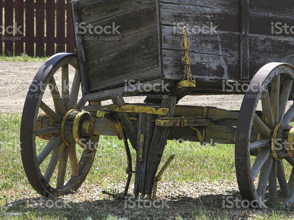 Wagon Old Wood Pioneer stock photo