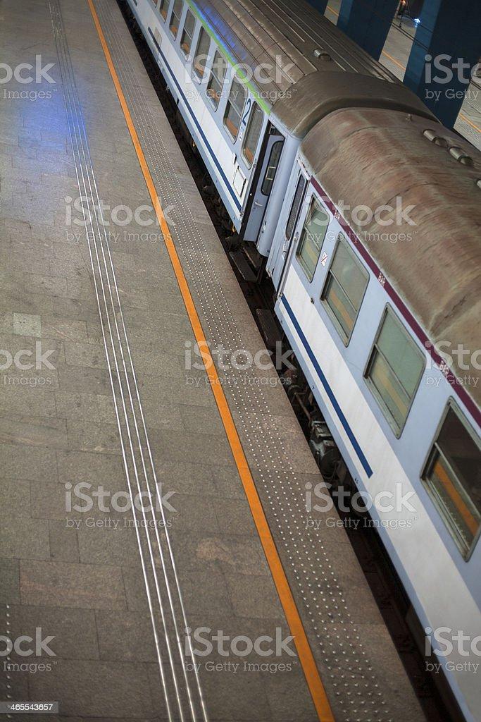 Wagon train on the platform stock photo