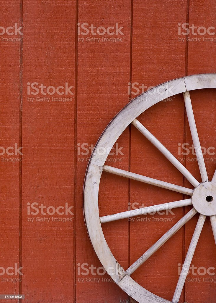 Wagon Wheel and Barn stock photo