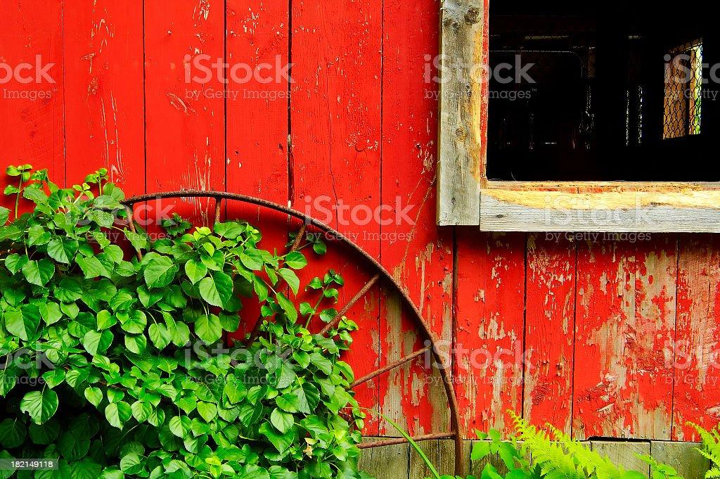 Wagon Wheel and Barn stock photo