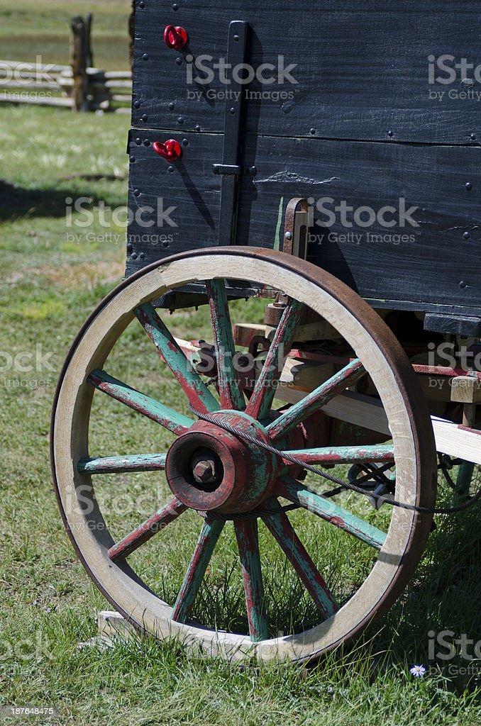 Wagon Wheel at Hornbek Ranch stock photo