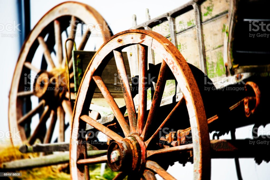 Wagon wheels and old cart stock photo