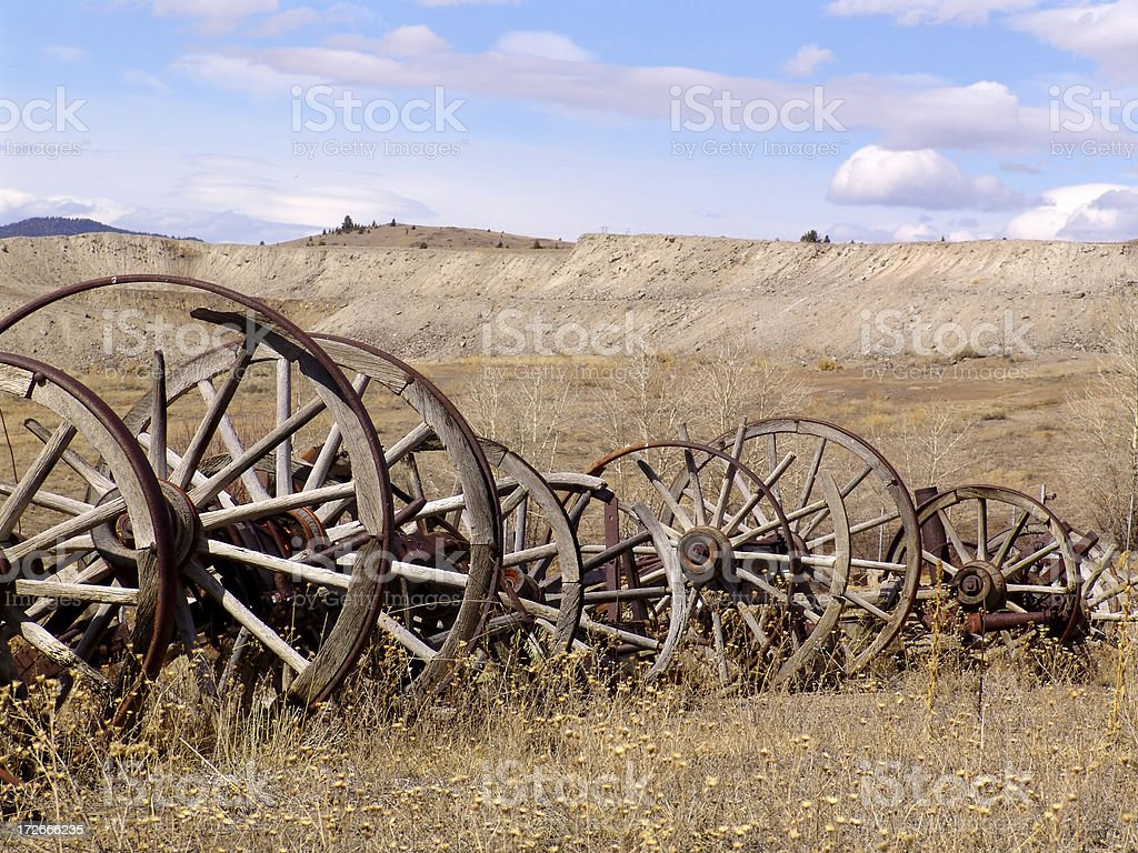 Wagon Wheels in a Row royalty-free stock photo