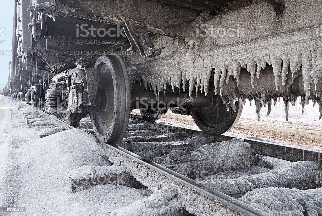 Wagons with salt (NaCl) on the lake Baskunchak . royalty-free stock photo
