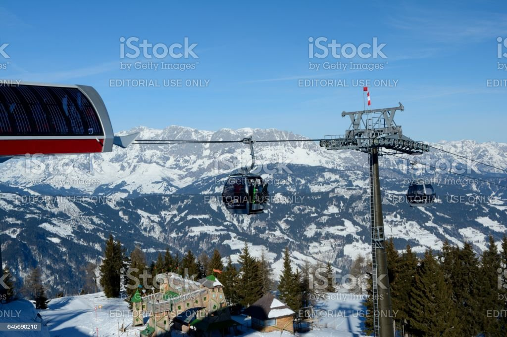 Wagrain, Austria - January 30 2017: Cable car nearby Wagrain and Alpendorf in Alps in Austria. Unidentified people visible. stock photo