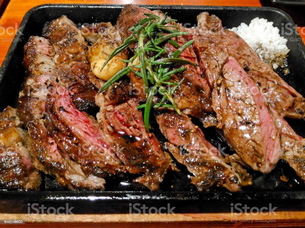 Wagyu beef steak sliced stock photo