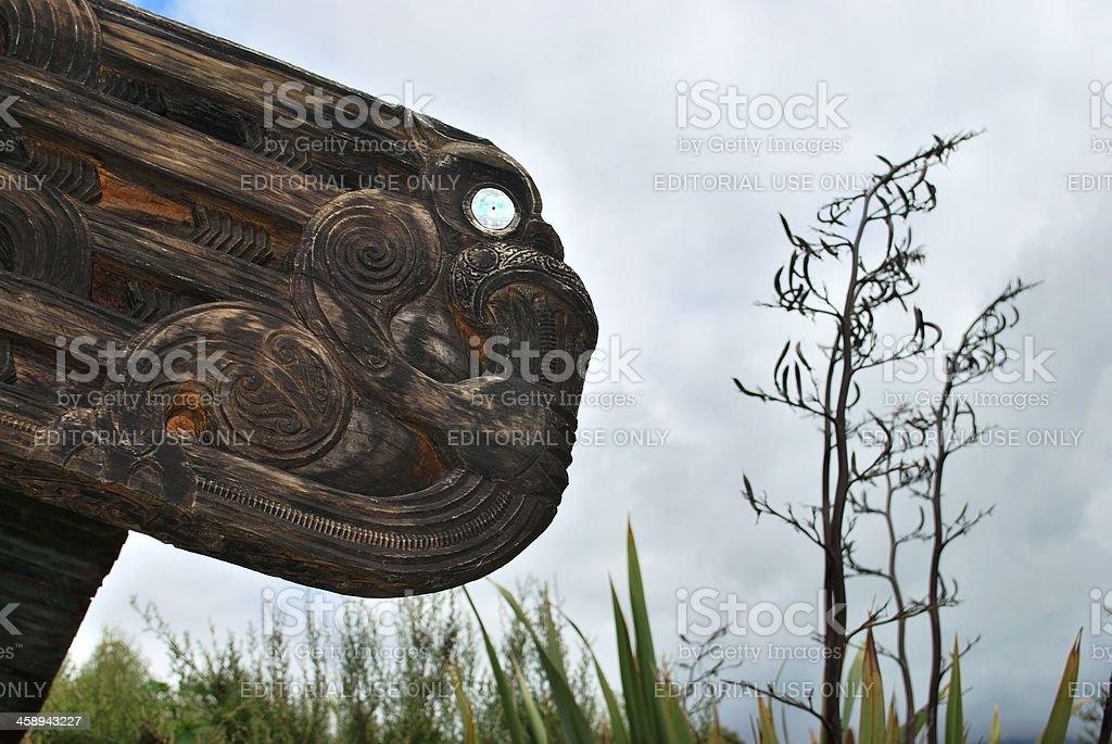 'Wahanui - Gateway' Sculpture by Hohepa Barrett and Ropata Nelson stock photo