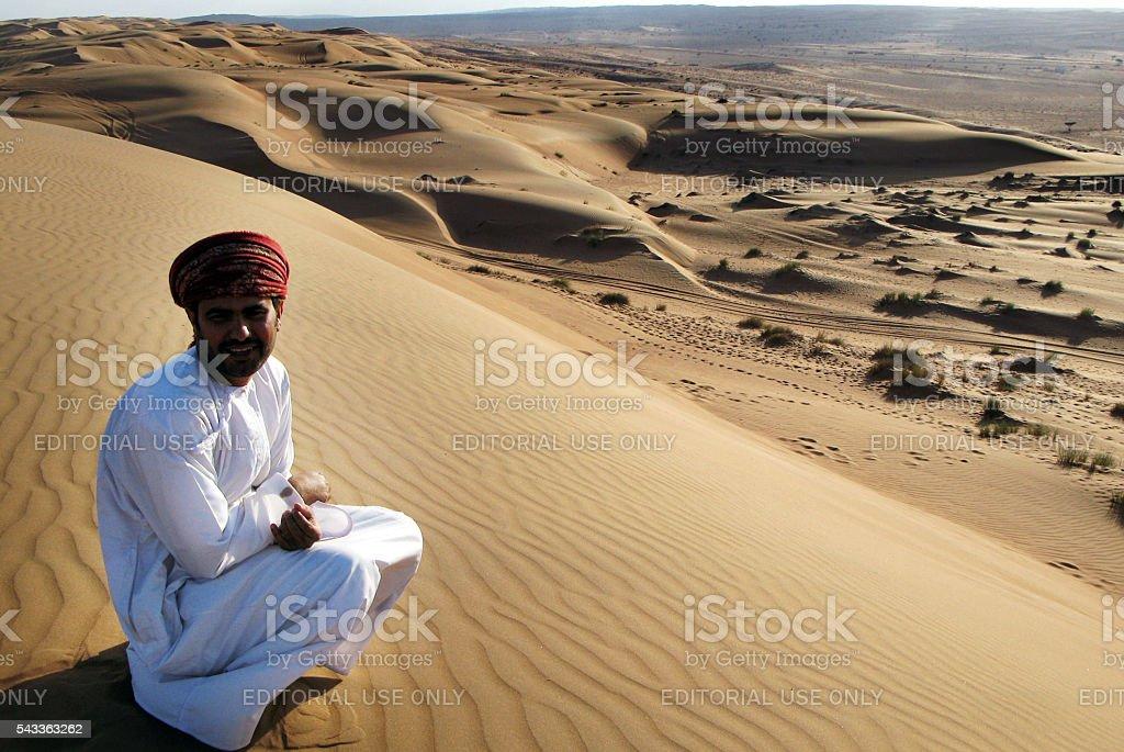 Wahiba Sands Desert in Oman. stock photo