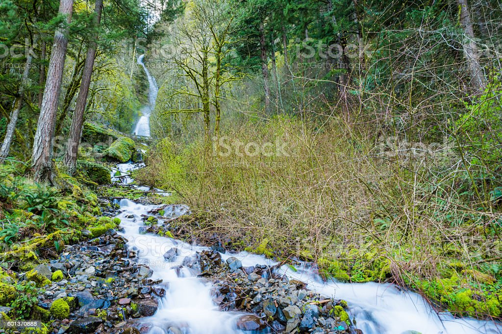 Wahkeena falls in Oregon at Columbia River Gorge stock photo