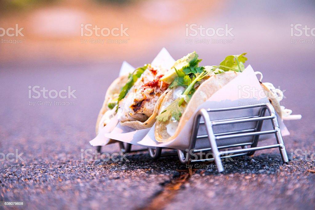 Wahoo Fish Street Tacos stock photo