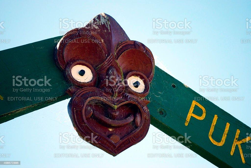 Wai Atua Puketawai Maori Gatepost royalty-free stock photo