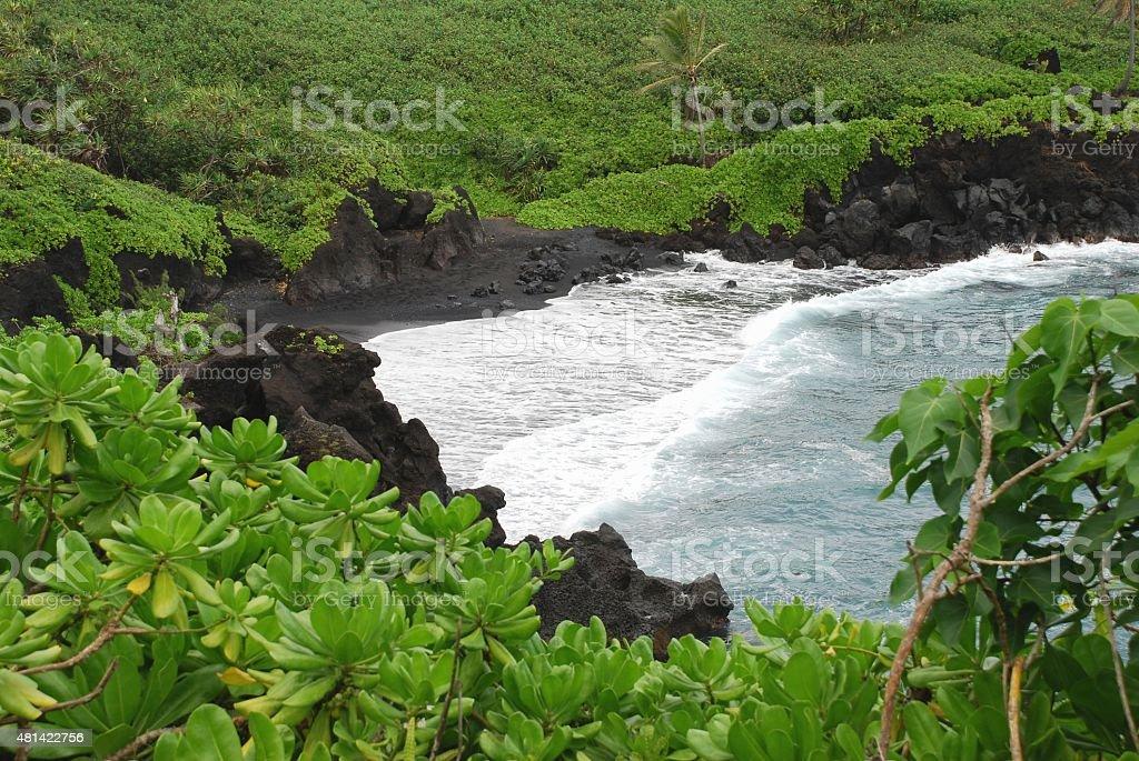 Waianapanapa Black Sand Beach stock photo