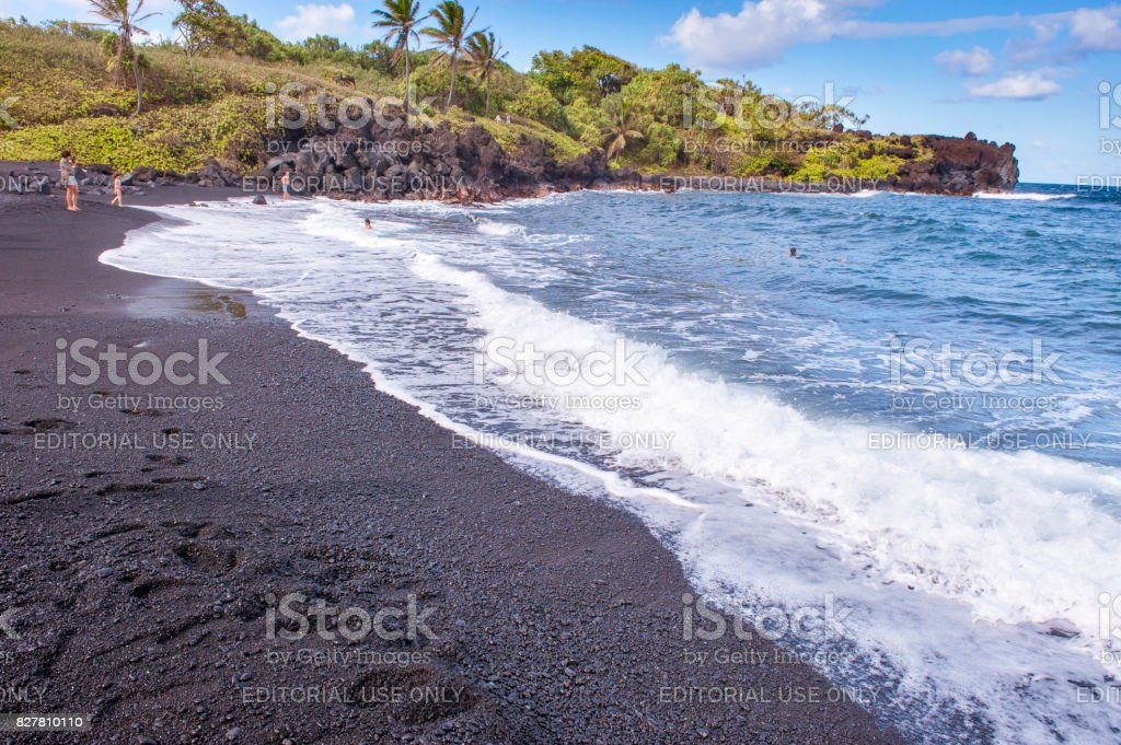 Waianapanapa Black Sand Beach stock photo