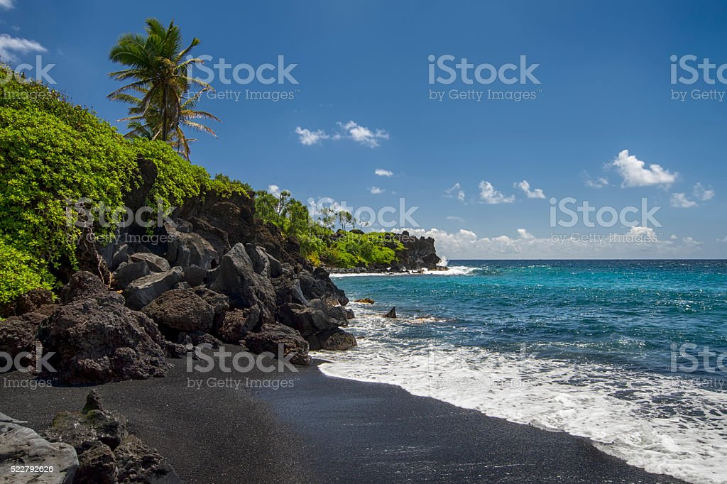 Waianapanapa state park, black sand beach. Maui, Hawaii stock photo
