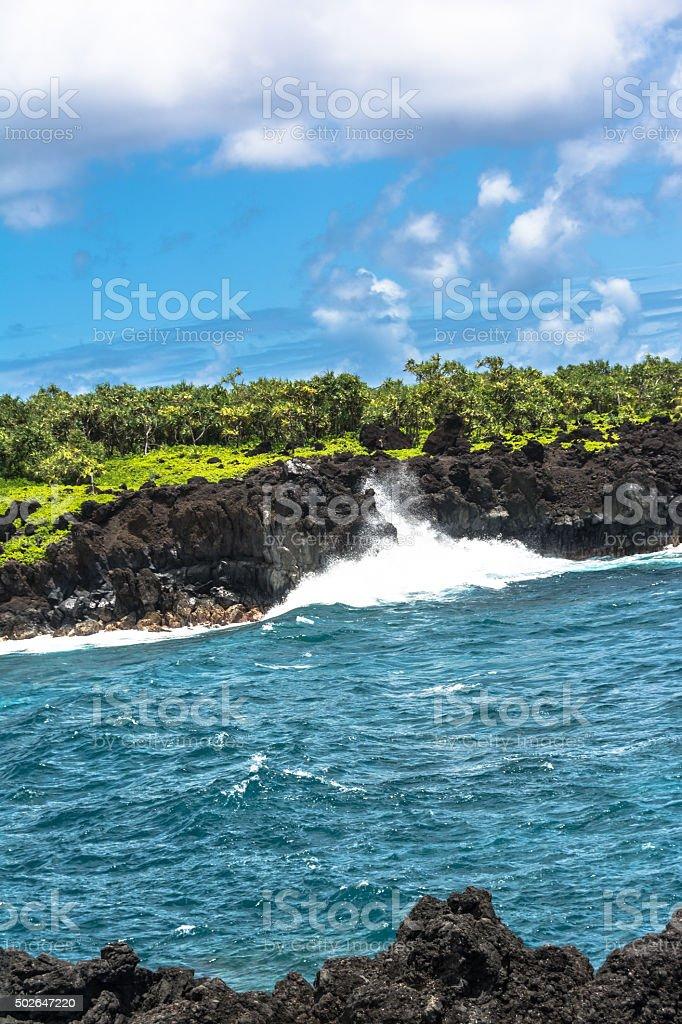 Waianapanapa State Park coast, Maui, Hawaii stock photo
