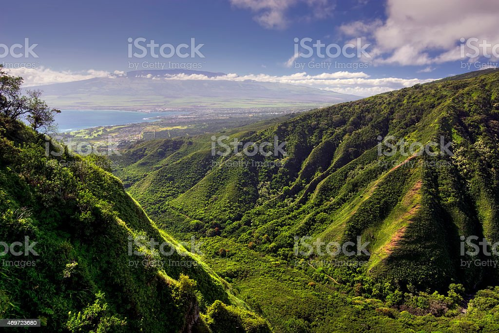 Waihee Ridge Trail and view of Kahului and Haleakala, Hawaii stock photo