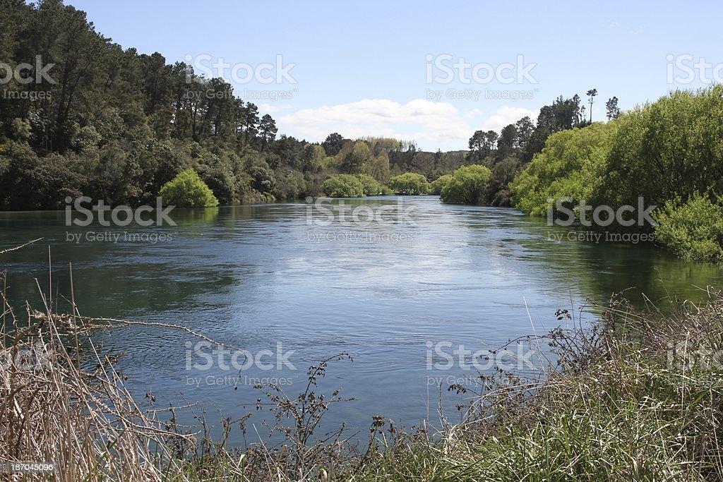 Waikato River near Taupo, New Zealand stock photo