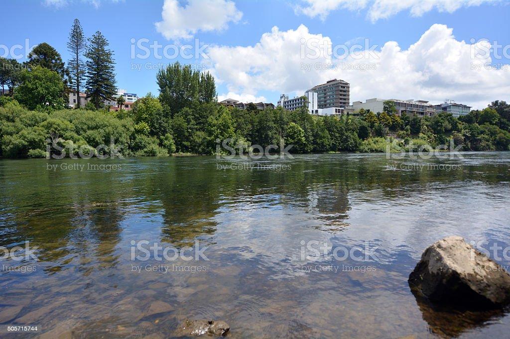 Waikato River passing through Hamilton, New Zealand stock photo