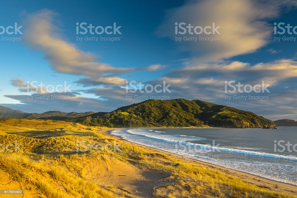 Waikawau Bay Sunrise stock photo