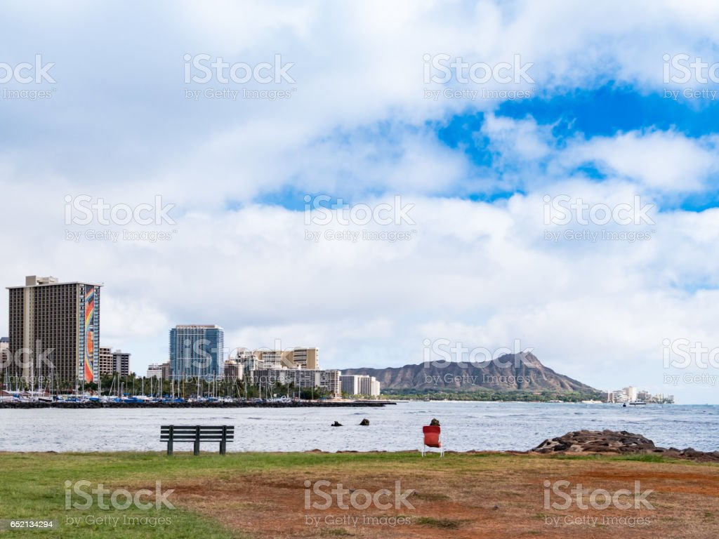 Waikiki and Diamond Head at Ala Moana Beach Park, Honolulu, Oahu Island, Hawaii. stock photo