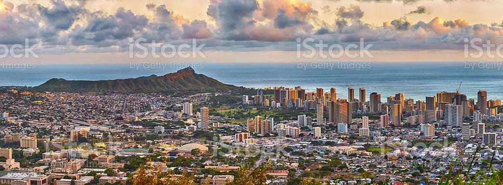 Waikiki and Diamond Head from Tantalus lookout stock photo