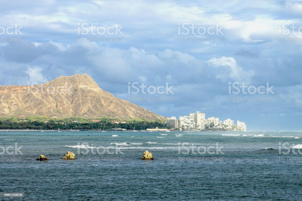 Waikiki and Diamond Head stock photo